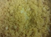 arroz con bacalao y gratinado de muselina de ajos