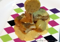 #receta bacalao a la miel con piruleta de mostaza al vino blanco Maille