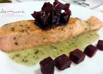 #salmón braseado con algas y remolaha