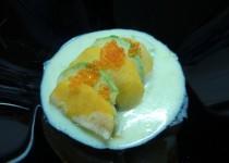 ceviche de carabineros con aguacate y melocotón