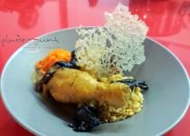 #pollo con arroz, zanahorias y setas Thai